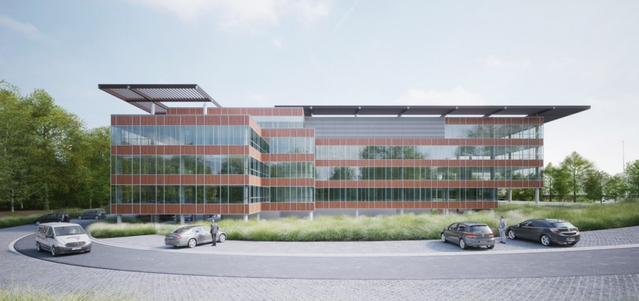 Nouveau bâtiment en construction à Namur Office Park
