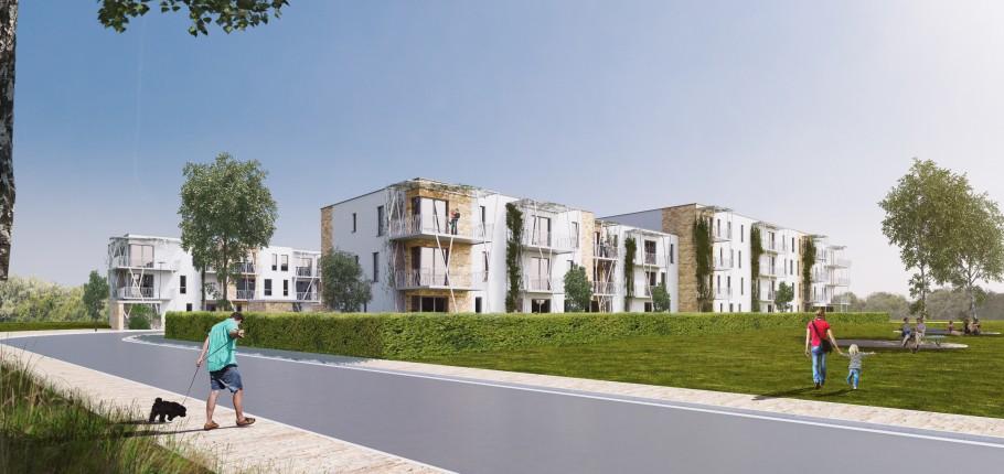 Nouveaux logements sociaux basse énergie au quartier «La Fourche» à Marche-en-Famenne.